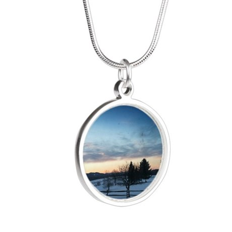 Sunrise over Stowe, VT Silver Round Necklace