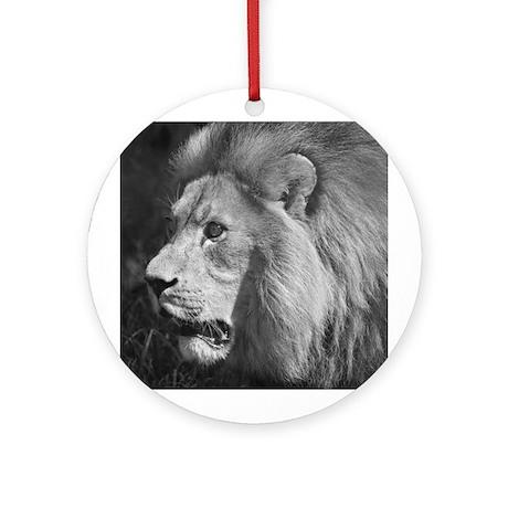 B&W Lion Ornament (Round)