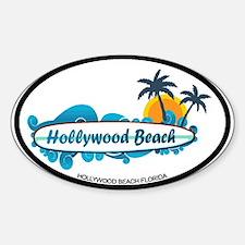 Hollywood Beach - Surf Design. Sticker (Oval)