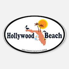 Hollywood Beach - Map Design. Sticker (Oval)