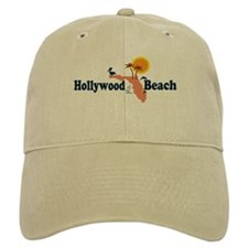 Hollywood Beach - Map Design. Baseball Cap