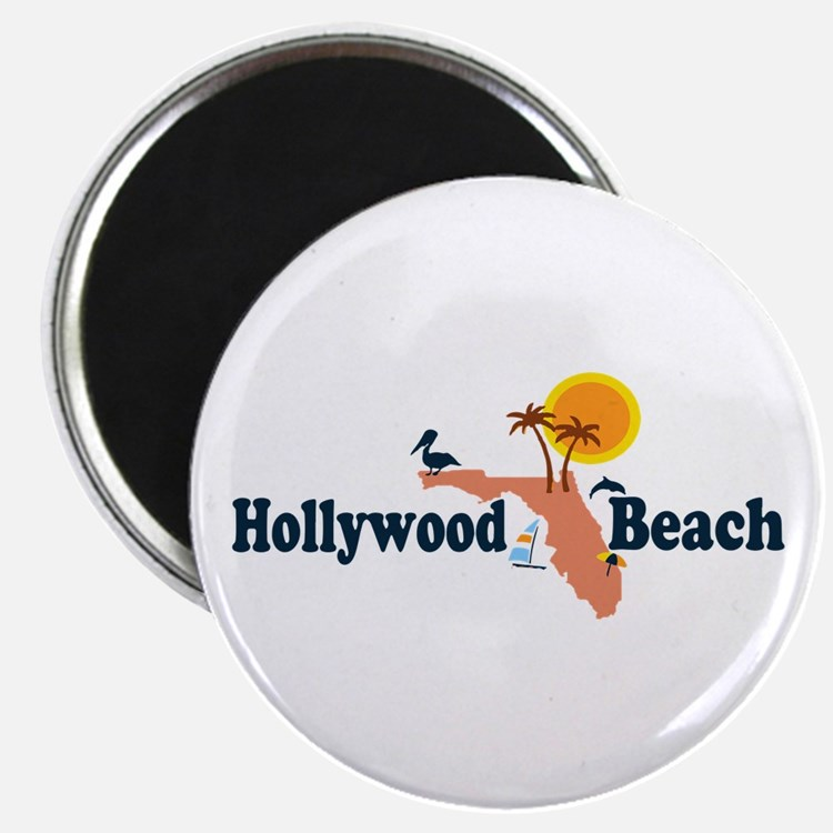Hollywood Beach - Map Design. Magnet