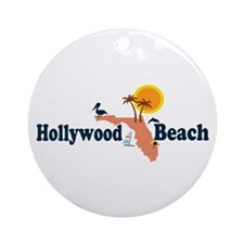 Hollywood Beach - Map Design. Ornament (Round)