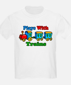 Plays With Trains Kids T-Shirt