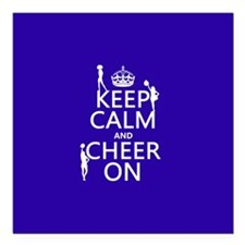 """Keep Calm and Cheer on Square Car Magnet 3"""" x 3"""""""