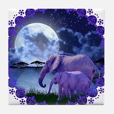 Contemplative Elephants Tile Coaster