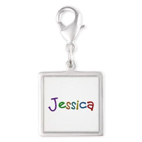 Jessica Play Clay Silver Square Charm