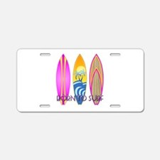 Born To Surf Pink Aluminum License Plate