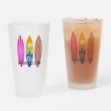 Born To Surf Pink Drinking Glass