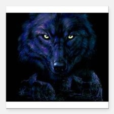 """Midnight Wolf Square Car Magnet 3"""" x 3"""""""