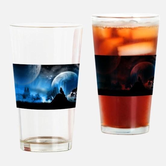 Wolf at Midnight Drinking Glass