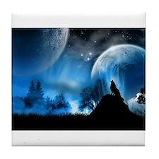 Wolf at Midnight Tile Coaster