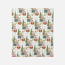 cute christmas owls pattern Throw Blanket