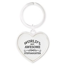 World's Most Awesome Stepdaughter Heart Keychain
