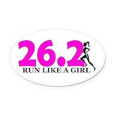 Run Like a Girl 26.2 Oval Car Magnet