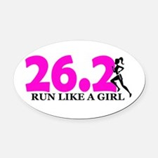 Run Like a Girl 26.2 Oval Car Magnet