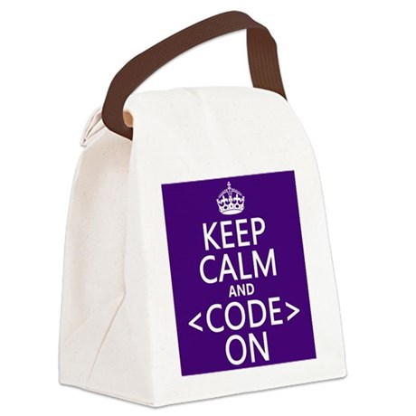 Keep Calm and Code On Canvas Lunch Bag