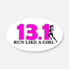 Run Like a Girl Oval Car Magnet