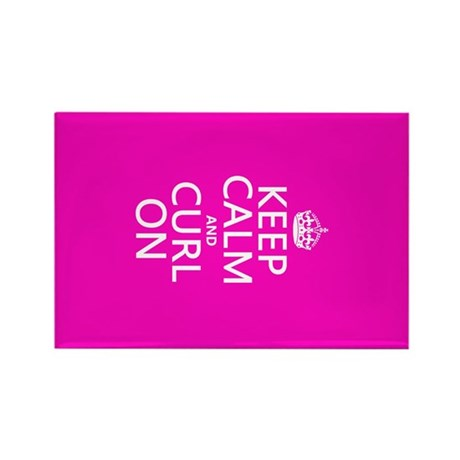 Keep Calm and Curl On Rectangle Magnet (10 pack)