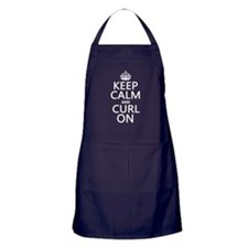 Keep Calm and Curl On Apron (dark)