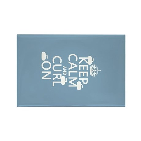Keep Calm and Curl On (curling) Rectangle Magnet
