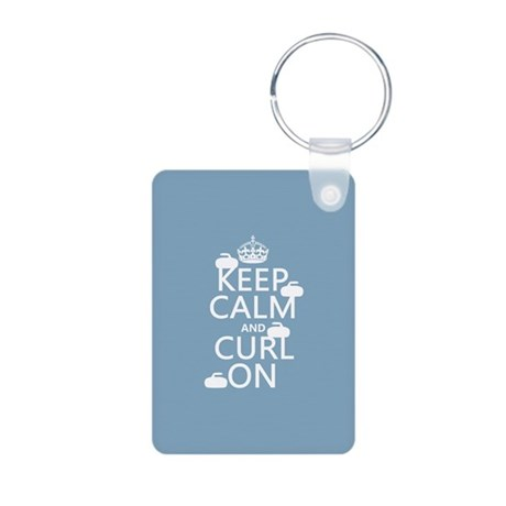 Keep Calm and Curl On (curling) Keychains