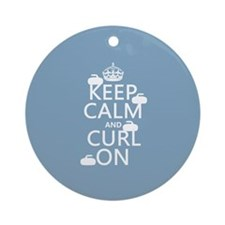 Keep Calm and Curl On (curling) Ornament (Round)