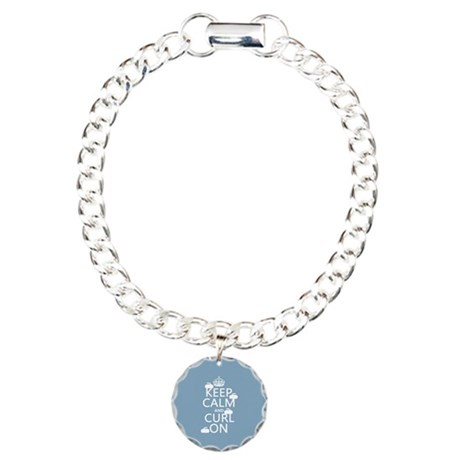 Keep Calm and Curl On (curling) Charm Bracelet, On