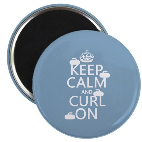 """Keep Calm and Curl On (curling) 2.25"""" Magnet (10 p"""