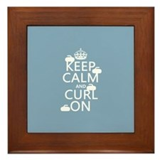 Keep Calm and Curl On (curling) Framed Tile