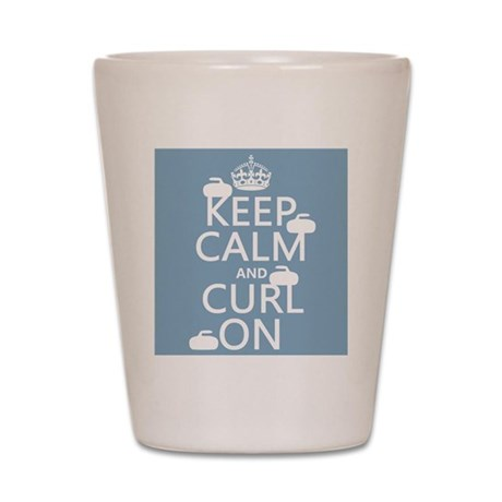 Keep Calm and Curl On (curling) Shot Glass