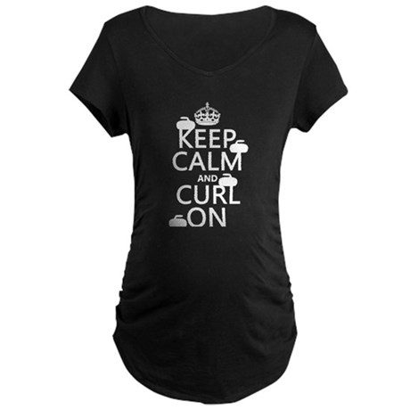 Keep Calm and Curl On (curling) Maternity T-Shirt
