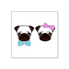 "Pugs and Bows Square Sticker 3"" x 3"""