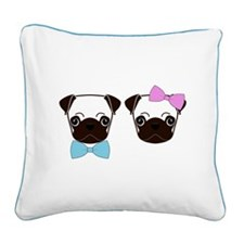 Pugs and Bows Square Canvas Pillow