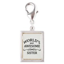 World's Most Awesome Sister Silver Portrait Charm