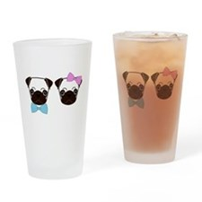 Pugs and Bows Drinking Glass