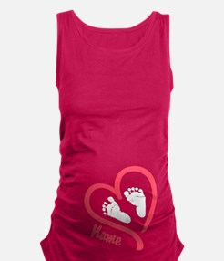 Baby Feet Pink Personalized Maternity Tank Top