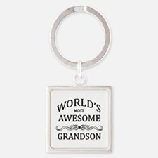 World's Most Awesome Grandson Square Keychain