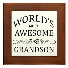 World's Most Awesome Grandson Framed Tile