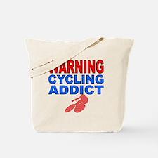 Warning Cycling Addict Tote Bag