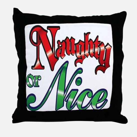 Christmas Naughty or Nice Cartoon Tex Throw Pillow