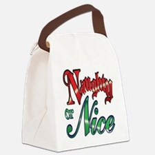 Christmas Naughty or Nice Cartoon Canvas Lunch Bag