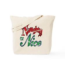 Christmas Naughty or Nice Cartoon Text Tote Bag