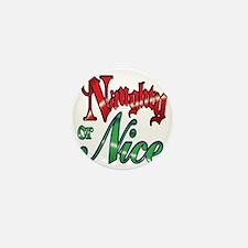 Christmas Naughty or Nice Cartoon Text Mini Button