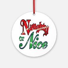 Christmas Naughty or Nice Cartoon T Round Ornament