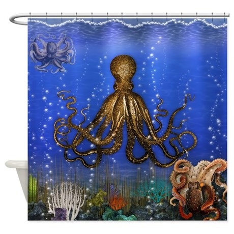 Octopus 39 lair colorful shower curtain by phantasmdesigns for Colorful octopus painting