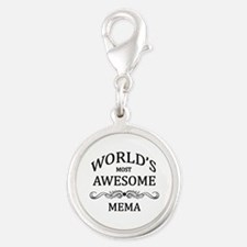 World's Most Awesome Mema Silver Round Charm