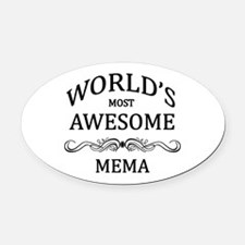 World's Most Awesome Mema Oval Car Magnet