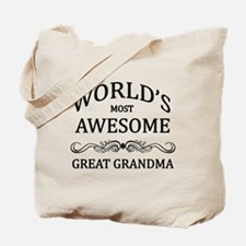 World's Most Awesome Great Grandma Tote Bag
