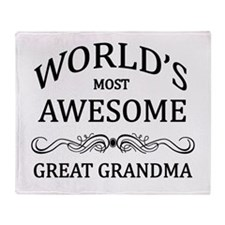 World's Most Awesome Great Grandma Throw Blanket